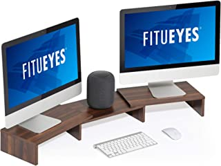 FITUEYES Computer Monitor Stand Riser 3 Shelf Desk Organizer for Home Office Use, Length and Angle Adjustable, Walnut Brow...