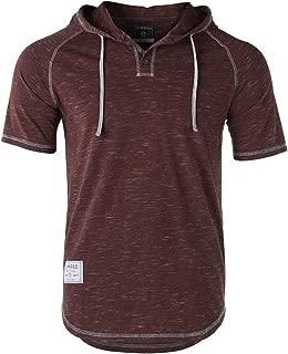 Men's Contrast Short Sleeve Round Bottom Raglan Hoodie Henley T-Shirts