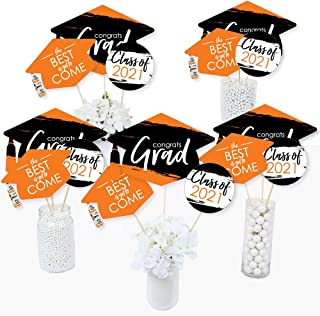 Big Dot of Happiness Orange Grad - Best is Yet to Come - 2021 Orange Graduation Party Centerpiece Sticks - Table Toppers -...