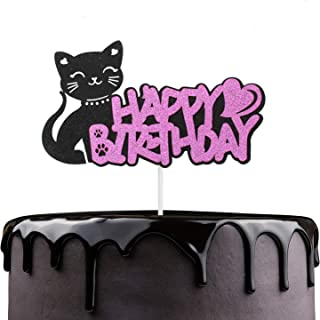 Purr-fect Kitty Cat Birthaday Cake Topper - Adorable Glitter Kitten Meow Girl's Birthday Cake Décor - Cartoon Cat Baby Shower Kids Birthday Party Decoration