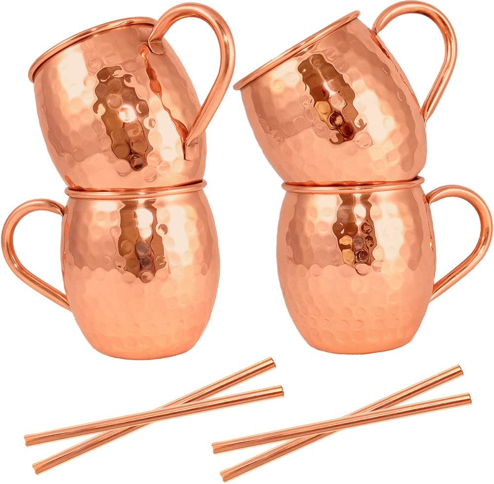 Challenge Max 70% OFF the lowest price of Japan Moscow Mule Mugs Set 4 + Anvil by Straws – Copper Artisan's F