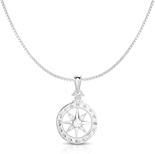 925 Solid Sterling Silver Small Compass Rose Pendant and Necklace. (20