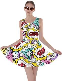 CowCow Womens Middle Finger Hands Emotions Emoji Smile Face Lips Pop Art Skater Dress, XS-5XL