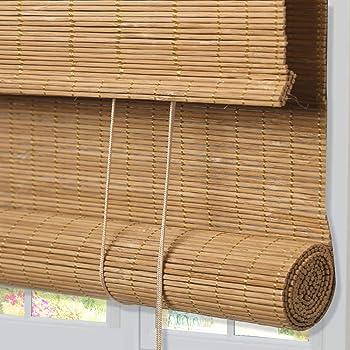 ZY Blinds Bamboo Window Blinds, LightFilteringRollUp WoodWindowRoller ShadeswithValanceforPorch, Courtyard, Balcony, Kitchen, Doors,French Door, Sliding Door, Color 13