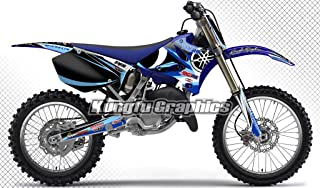 Kungfu Graphics Custom Decal Kit for Yamaha YZ125 YZ250 2002 2003 2004 2005, Black Blue,style 003