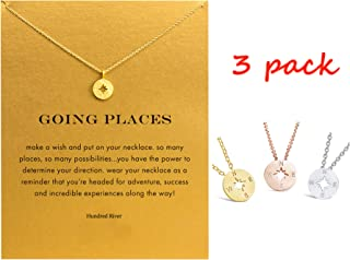 Hundred River Friendship Clover Necklace Unicorn Good Luck Elephant Necklace with Message Card Gift Card(2&3pack)