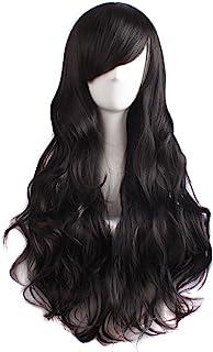 MapofBeauty 70 cm Urocze Kobiety Boczne Grzywki Dlugie Krecone Pelne Wlosy Syntetyczna Peruki (Brzowawy Czarny)
