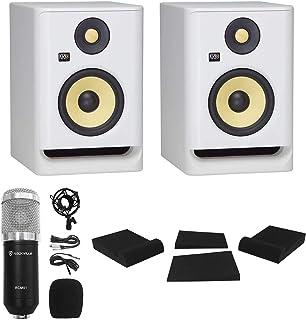 """(2) KRK ROKIT RP5 G4 5"""" Studio Monitor DSP Speakers White Noise Edition+Mic+Pads"""