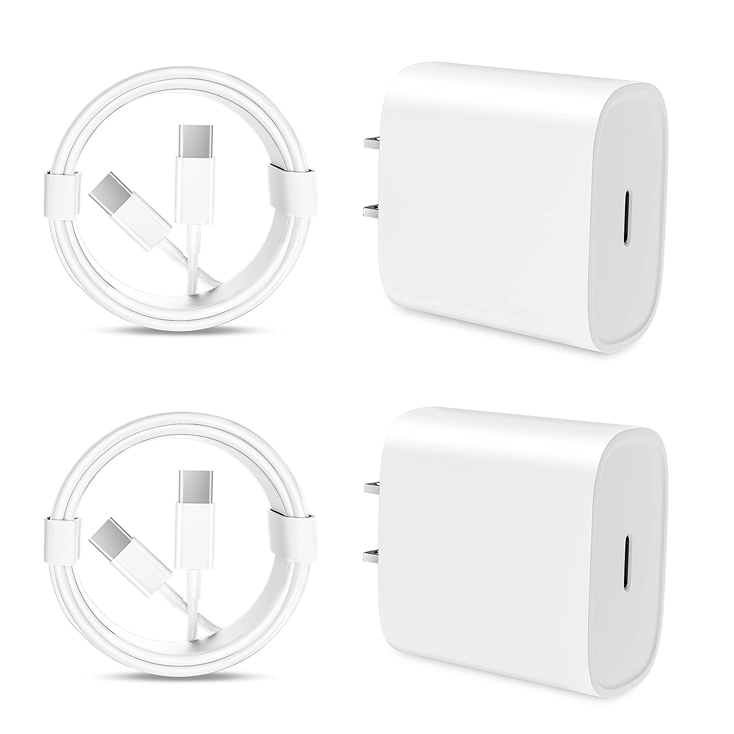 iPad Pro Charger 20W USB C Charger for iPad Pro 12.9 5th/4th/3rd Gen,iPad Pro 11 inch 3rd/2nd/1st Gen 2021/2020/2018,iPad Air 4th Generation 2020,iPad Mini 6 Generation 2021,6.6ft USB C Cable[2-Pack]