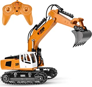 GotechoD Remote Control Excavator RC Trucks 1/18 9 CH RC Construction Vehicle Remote Control Truck Full Function RC Excavator Toy Car Boys Toys for 6-15 Years Old Kids Boys