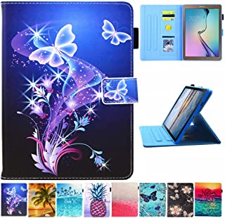 "Galaxy Tab A 10.1 Case, T510 Case, JZCreater PU Leather Folio Stand Wallet Case, Auto Sleep/Wake Smart Cover for Samsung Galaxy Tab A 10.1"" SM-T510/T515, Purple Butterfly"