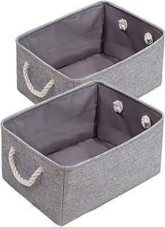 GRKJGytech Lot de 2 paniers de rangement pliables en tissu avec poignée en corde de coton pour jouets et vêtements - Pour ...