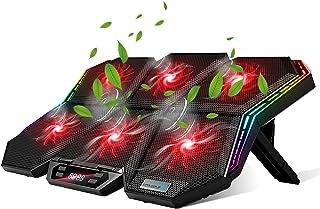 ノートパソコン 冷却ファン 冷却パッド 冷却台 ノートPC クーラー 12種RGB変換ライトモード 6つ冷却ファン 搭載 3段階風量調節可 7段階高度調整可 静音 安定 2つUSBポート付 ノートPC/Macbook Pro/PS4等に対応