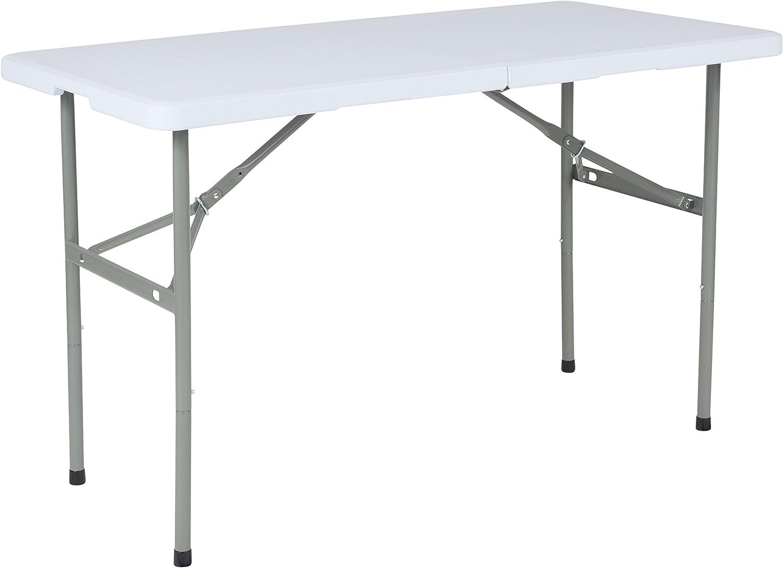 Flash Furniture 24  W X 48  L Bi-Fold Granite White Plastic Folding Table,