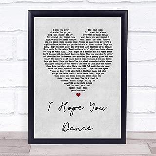 123 BiiUYOO Lee Ann Womack I Hope You Dance Grey Heart Song Lyric Print with Frame 14