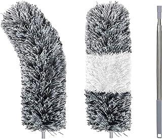 aovowog Plumero de Limpieza,Microfibra Plumero Extensible Ajustable Lavable con 245cm Barra Telescópica para Ventanas Persianas Muebles Coches (2 Piezas Cabezales de Plumero de Intercambiar)