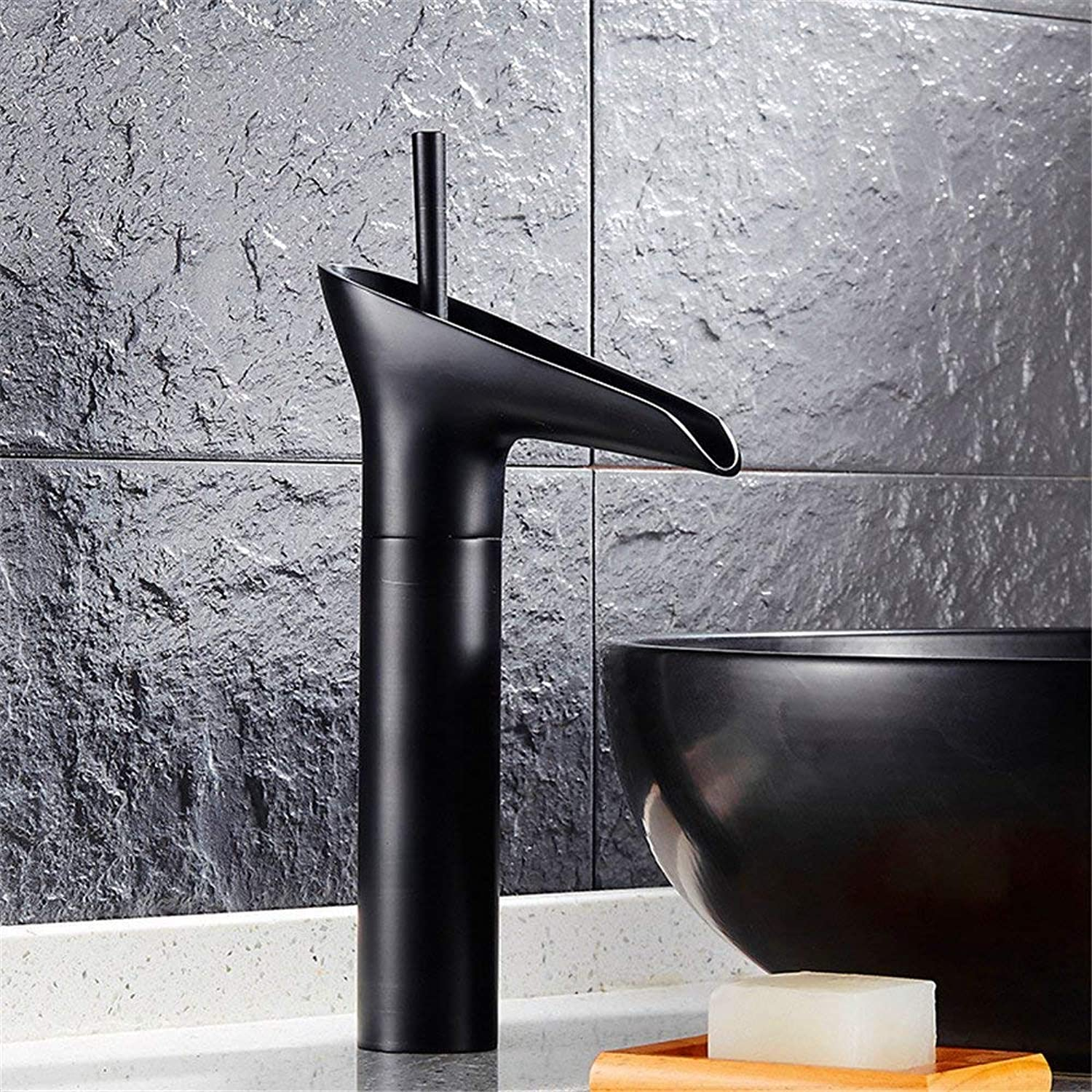 Simple black bronze hot and cold tap faucet black height retro faucet O (color   J)