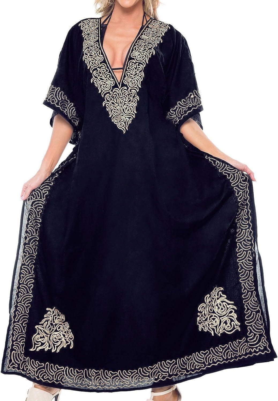 LA LEELA Women's Long Kaftan Swimsuit Cover Ups Sleep Casual Dress Embroidered