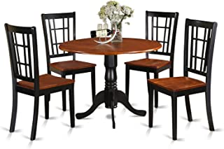 East West Furniture 5-Piece Kitchen Nook Dining Table Set, Black/Cherry Finish