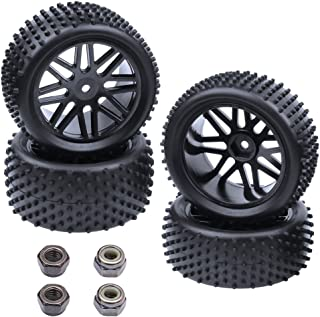Hobbypark (4-Pack) 1/10 Scale Off Road Buggy Tires & Wheel Rims Set Front and Rear 12mm Hex Hubs with Foam Inserts for RC Hobby Car