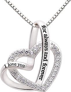 ALOV Jewelry Sterling Silver من عاشق شما همیشه و همیشه برای عشق قلب جواهرات گردنبند زیرکونیا