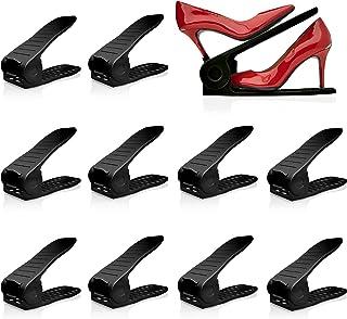 Livin' Well Stack-A-Shoe Shoe Racks for Closets - 10 Inch Long Adjustable Stackable Shoe Organizer for Closet 10pk, Black