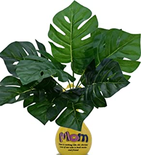 SUKIHAR Large Palm Leaves - 2 Piece Palm Leaves - 9 Heads Giant Palm Leaves with stem - Artificial Leaf - Real Touch Latex Turtle Leaf for Indoor Home Decoration