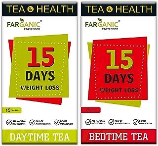 Farganic 15 Days Weight Loss Green Tea. 100% Natural and Herbal. Day Time Tea, Bed Time Tea. Slimming Tea. 30 Tea Bags ( 1...