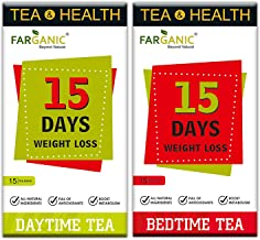 FARGANIC 15 Days Weight Loss Natural and Herbal Day Time and Bed Time Green Tea -30 Tea Bags (15 and15)
