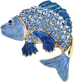 Japanese Koi Fish Carp Golden Tone Enamel Crystal Rhinestone Ocean Animal Lapel Pin Brooch
