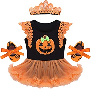 IEFIEL Vestido Calabaza para Bebe Niña Disfraz Halloween Cosplay Conjunto Infantil Pelele con Tutú Body Manga Cortas Banda de Cabeza Calientapiernas Zapatos