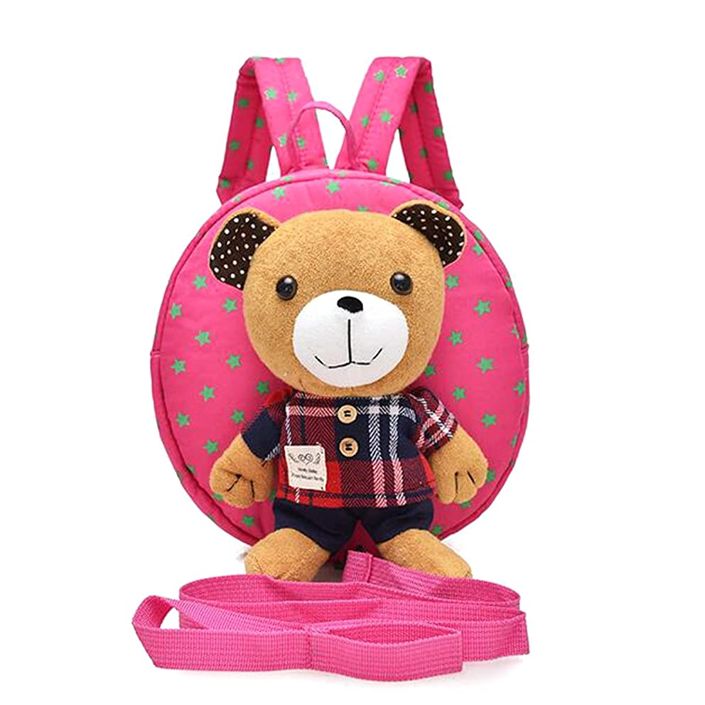 M2cbridge Cute Bear Toddler Anti-lost Backpack Small School Shoulder Bag Safety Harness (Pink bear A)