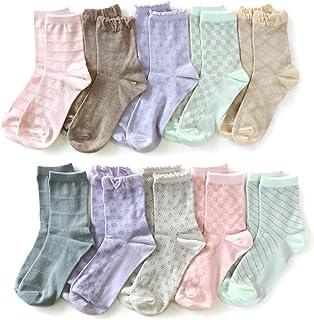 靴下 レディース パステルカラー 透かし編みソックス 綿混 クルー丈 10足セット