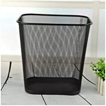 ZXHDND Office Hotel Home Large Metal Mesh Waste Paper Basket Square Trash Can Cleaning Bucket 12L Black