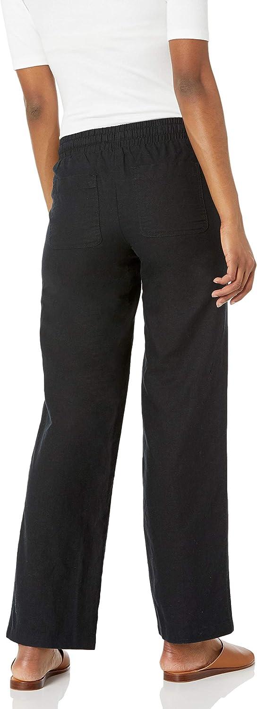Amazon Essentials Women's Linen Blend Drawstring Wide Leg Pant