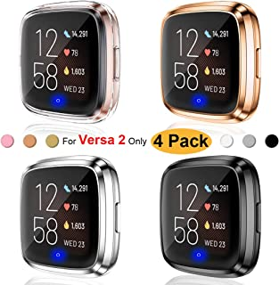 Ouwegaga Compatible with Fitbit Versa 2 Screen Protector Case,Versa 2 Screen Protector Protective Cover Case 4 Packs Clear Rose Gold Black Silver