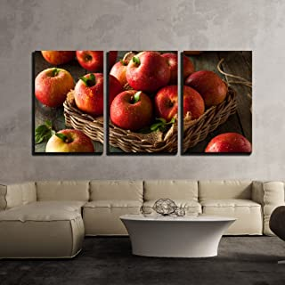 wall26 - 3 Piece Canvas Wall Art - Raw Red Fuji Apples in a Basket - Modern Home Decor Stretched and Framed Ready to Hang - 16