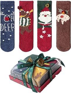 SERAPHY, 4 pares de calcetines navideños Calcetines térmicos para adultos Calcetines de terciopelo coral con caja de regalo