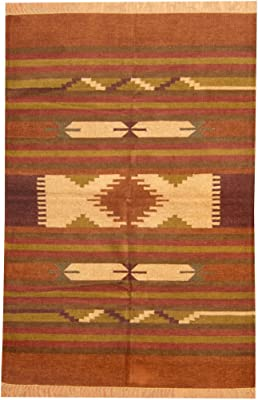 Amazon Com Herat Oriental Indo Hand Woven Chenille Dhurrie Wool Rug 4 X 6 Rust Brown Furniture Decor