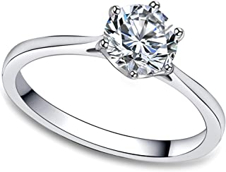 FlameReflection Stainless Steel Solitaire Rings for Women Engagement Rings for Women,1 Carat Ring Classic Cubic Zirconia Solitaire Ring,Stainless Steel Promise Rings (Some with Stud Earrings)
