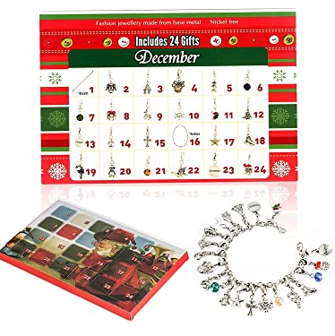 Dingde Christmas Advent Calendars 2019, 20 days Christmas Countdown DIY Bracelet Necklace with 22 Charms Set Fashion Jewelry Xmas Gift for Teen Girls Daughter Granddaughter