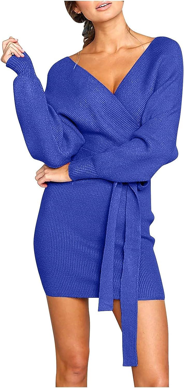 Women's V-Neck Solid Color Knit Dress Loose Long Sleeve Sweater Dress Temperament Mini Dresses