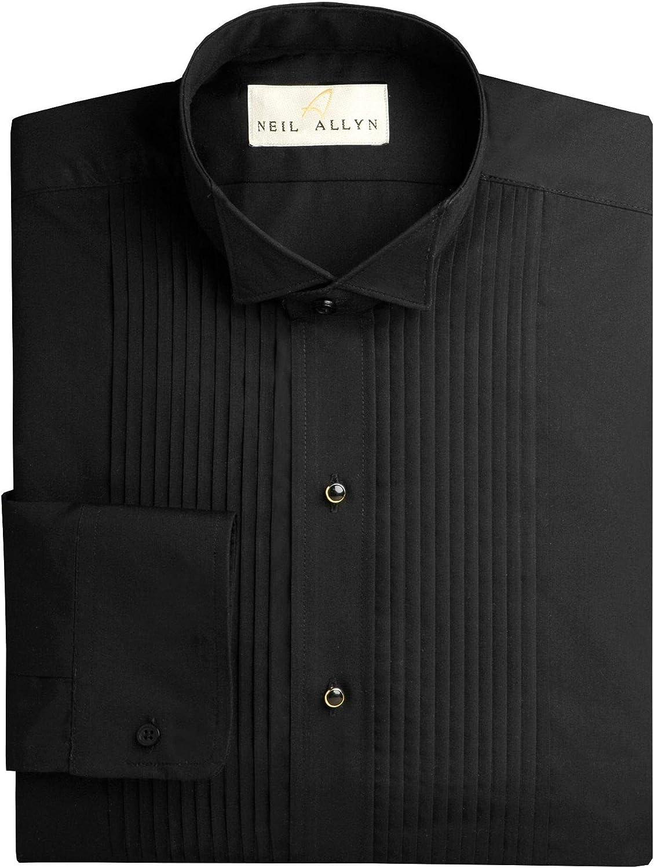 NEIL ALLYN Virginia Beach Mall Men's Black New arrival Wing Collar 1 Tuxedo Pleats Shirt-5XL- 4