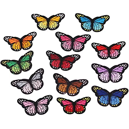 Iron On Patch- Patches for Jackets Insect Patch Cap  Cool Badge Size 2.3 cm Mini Small Pink Star Black Butterfly W H Jean x 1.8 cm