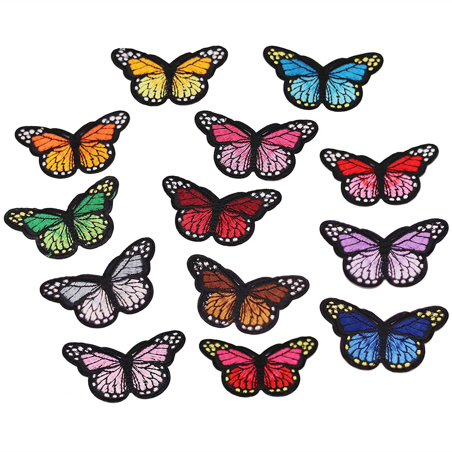 13pcs Multicolor Butterfly Iron on Patches Embroidered Motif Applique Assorted Size Decoration Sew On Patches Custom Patches for DIY Jeans, Jacket, Kid's Clothing, Bag,Caps, Arts C (Butterfly B 13pcs)
