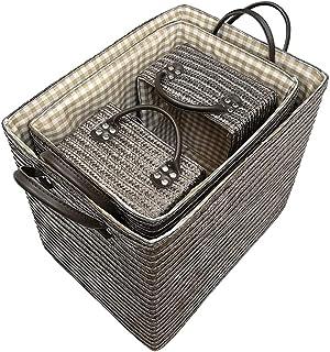 Panier de rangement Set de 4-style japonais simple Hamper Panier de rangement de finition Panier Grande Taille Vêtements P...
