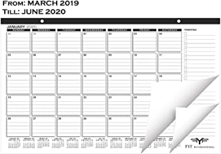 Desk Calendar 2018-2019 with Two Additional Months - Desk/Wall Calendar 2019 - Academic Planner Pad for Office & Personal use - Wall Hanging Calendars - Executive Cool Table Organizer (Black)