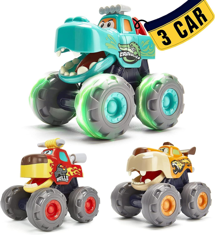 Coches de Juguetes Niños 1 año Camiones Monstruo 3 Pack Conjunto de Vehículos, Coches de Retroceso y Fricción Juguetes Bebes 1 año Regalo Juguetes Niños 2 3 4 5 años