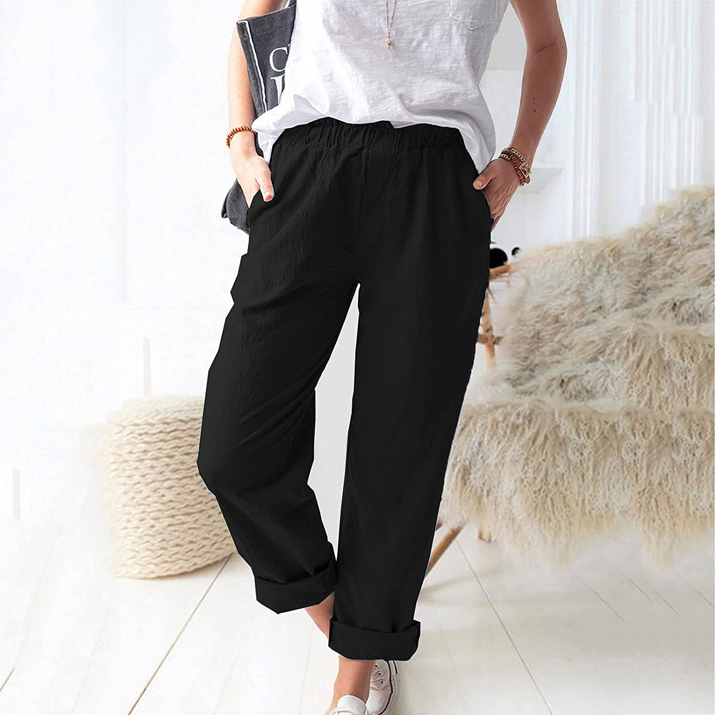 MIVAMIYA Women's Comfy Cotton and Linen Palazzo Pants Elastic Waist Soft Lounge Bottoms Wide Leg Loose Yoga Pants Trouser
