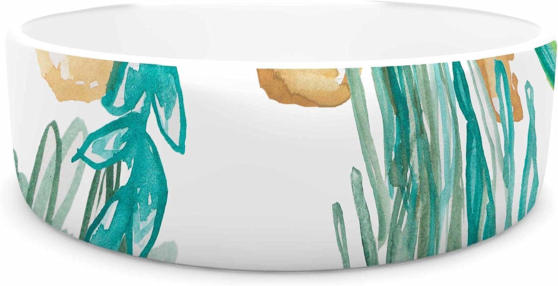 KESS InHouse Danii Pollehn House Plants Green White Illustration Pet Bowl, 7  Diameter